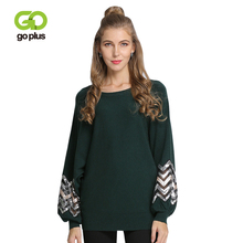 GOPLUS Lace Striped Knitted Sweater Women O Neck Loose Lantern Sleeve Sweater 2019 Spring Winter Pullovers Casual Sweater Female goplus women s knitted sweater o neck autumn pullovers loose flare sleeve colorful striped pullover coat kleding vrouwen c9503