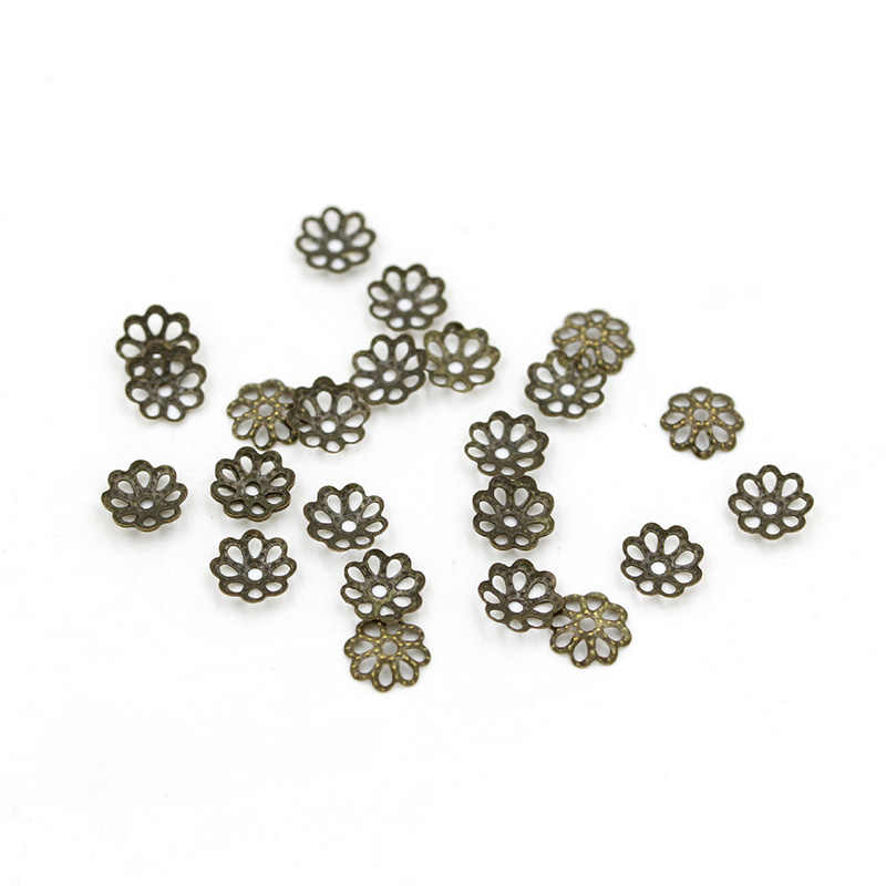 100pcs/lot 2 Sizes Jewelry Findings Dotted Flower Spacer Bead Caps Beads DIY Accessories for Necklace Bracelet Earrings Making