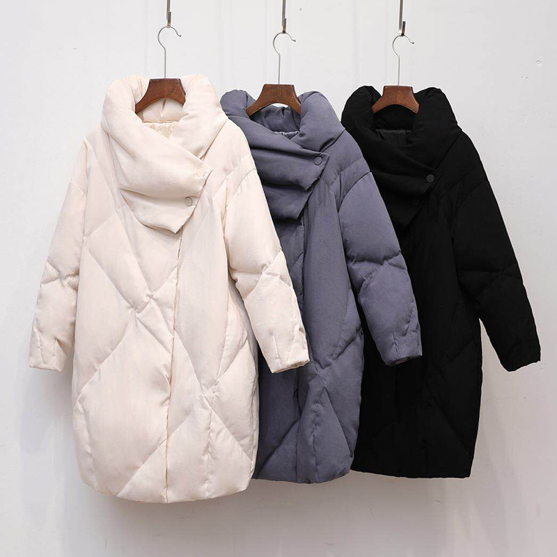 Duck   Down     Coat   Women Winter Clothing 2019 Female Jacket High Quality Knee Length Vintage   Down   Jacket For Women Parka Overcoat