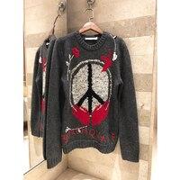 Женские свитера и пуловеры осень зима с длинным рукавом вышитый шерстяной Повседневный вязаный свитер