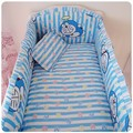 Promotion! 6PCS baby bed linen cot fitted 100% cotton bedding set bed sheet (bumpers+sheet+pillow cover)