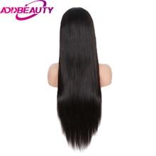 Addbeauty Brazilian Straight Virgin Hair Full Lace Human Hair Wigs With Baby Hair 150% Density Hand TiedFor Women Natural Black