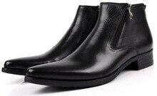 Tamanho grande EUR46 preto/Marrom tan/azul zíper apontou dedo do pé do tornozelo dos homens botas de couro genuíno botas sapatos dos homens de negócios