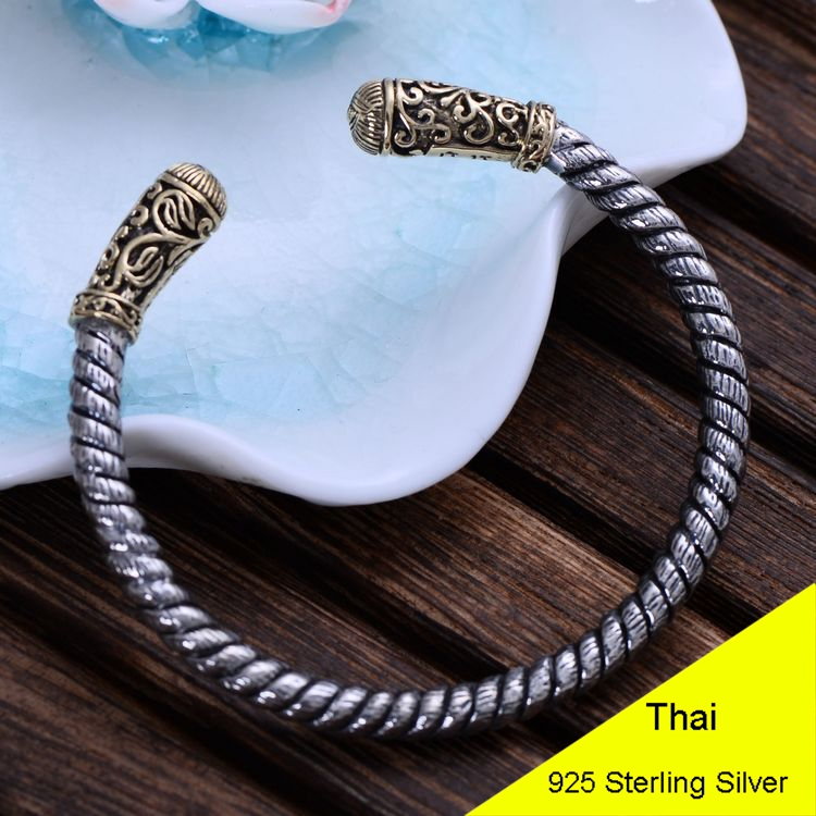 Fashion 925 Sterling Silver Vintage Thai Retro Men & Women Bracelet & Bangle Eyes of God Jewelry CH047649 925 sterling silver thai vintage pendant thai retro men male jewelry chian dragon bracelet ch059082