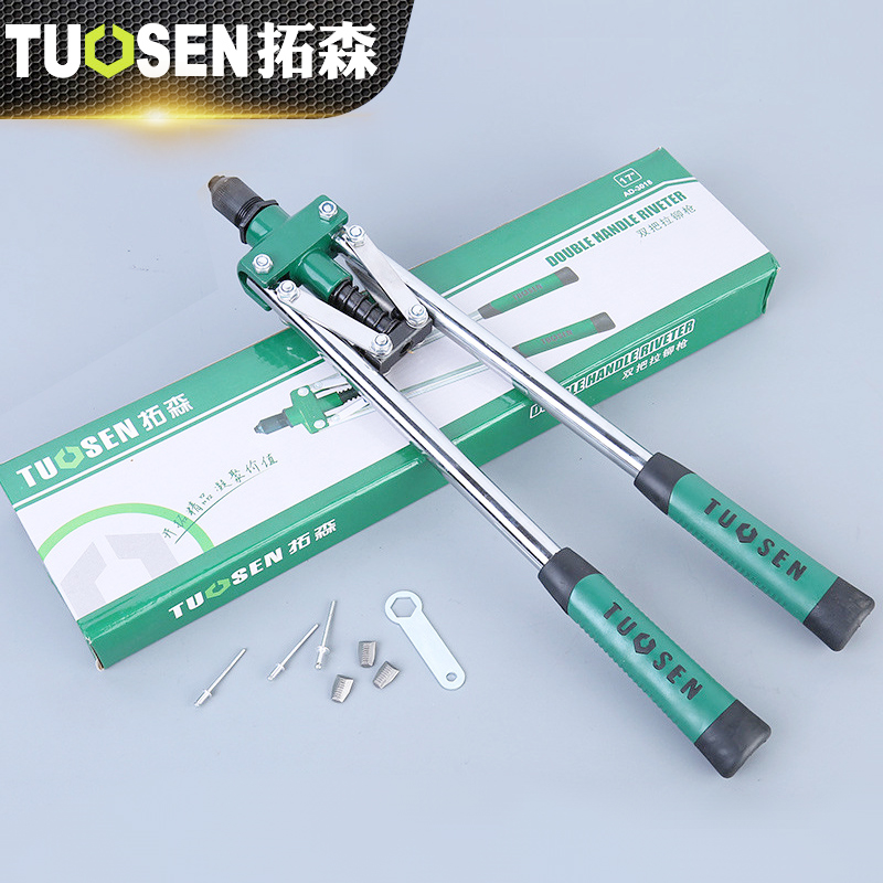 TUOSEN 17 Rivet Gun 430mm Heavy Duty Blind Rivet Gun Hand Insert Rivet Tool Manual Mandrels Auto Rivet Tools 10 pcs car spdt 5 pin 1no 1nc green indicator relay ceramic socket 80a 12v dc