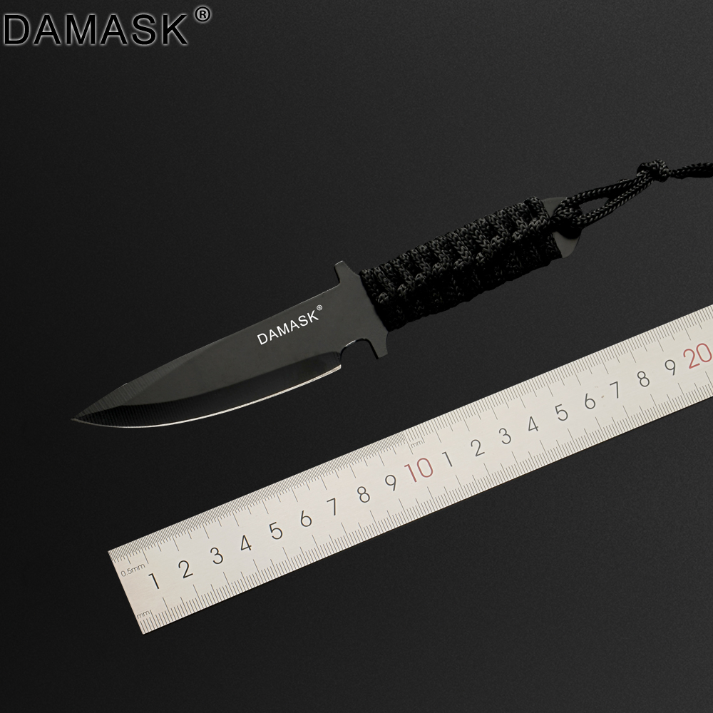 DAMASK Brand Mini Portable Knife Outdoor Knife Stainless Steel Full Tang Fixed Blade Survival Hunting Knife Outdoor Knives Tools
