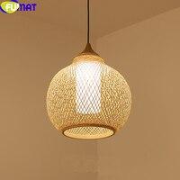 Фумат светодио дный Кулон лампы Janpanese бамбука абажур простой современный Hanglamp страна ручной свет столовая Чай комната подвесной светильник