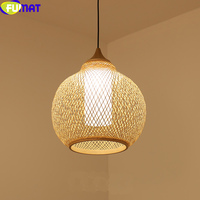 FUMAT LED Pendent Lamp Janpanese Bamboo Lampshade Simple Modern Hanglamp Country Handmade Light Dining Tea Room Pendant Light