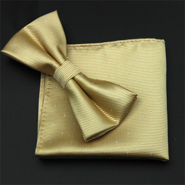 1abe8140249a CityRaider Brand Gold Bow Tie Set 2016 New Solid Mens Bow Ties Pocket Square  Set Polyester Bow Tie Hankerchief Set CR027