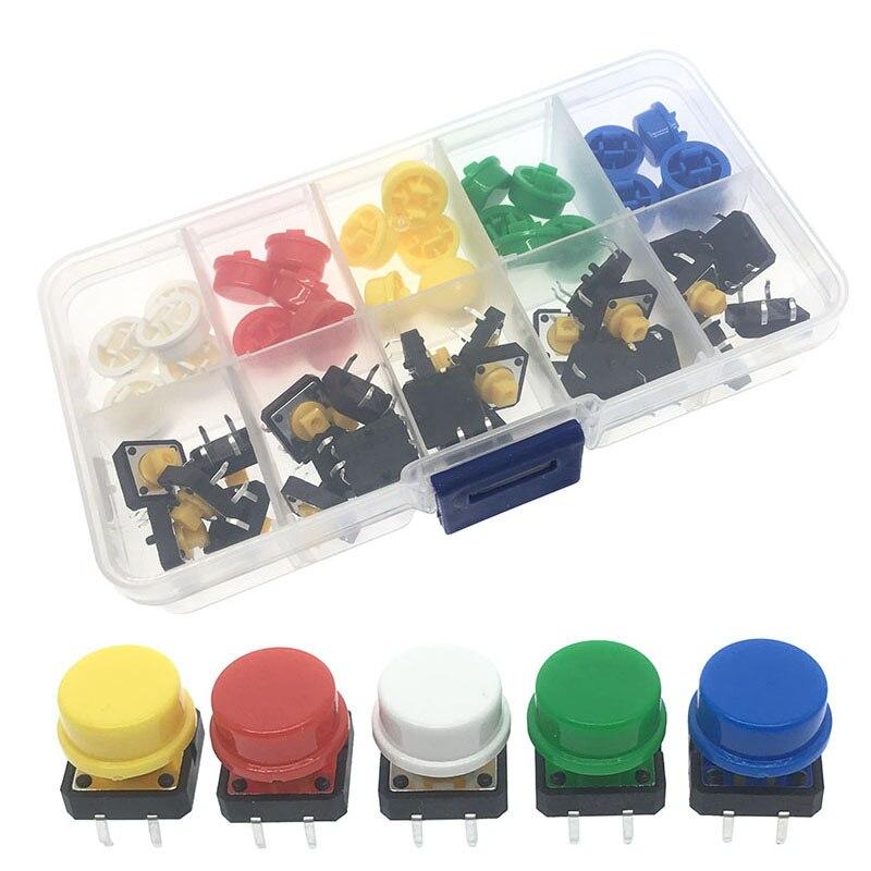 5 цветов, размер: 12*12*7,3 мини-выключатель кнопки такт Кепки тактильные пуш-ап мгновенный + набор комплектующих для Arduino 25 шт./компл.