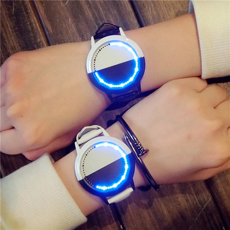 Cool LED Black White Touch Screen Steel Shell watches Genuine Leather Strap Digital Watch lovers' Wrist Watch Gift for Men Clock popular black skull sports watch silicone bands touch screen led watch women mens free shipping gitt for lovers couple