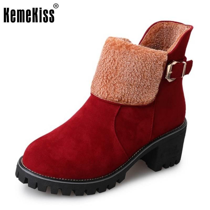 KemeKiss Women High Heel Boots Zipper Metal Mid Calf Boots Thick Fur Shoes Winter Botas Warm Bootas Women Footwears Size 35-39