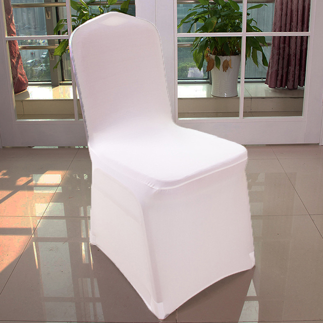 300 Pcs White Universal Stretch Polyester Spandex Party Wedding Chair Covers  For Weddings Lycra China Dining