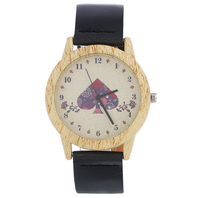 Strap Wrist-Watch Case PU Quartz Dial Wood-Grain LXH Printing Retro Casual