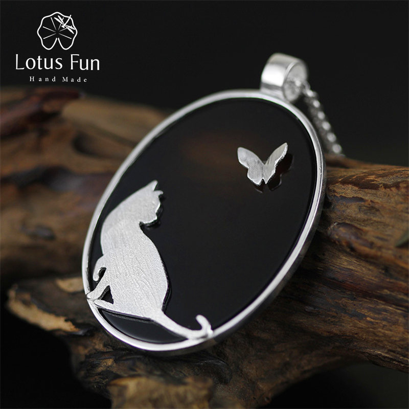 Lotus Fun Real 925 Sterling Silver Natural Agate Handmade Fine Jewelry Cat and Butterfly Pendant without Chain Women Acessorios