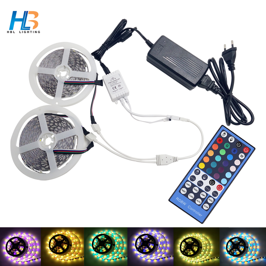 LED Strip 5050 5M 10M RGBW RGBWW Led strip light diode tape led ribbon with IR Controller + DC 12 V Power Adapter for Christmas 10m 5m 3528 5050 rgb led strip light non waterproof led light 10m flexible rgb diode led tape set remote control power adapter