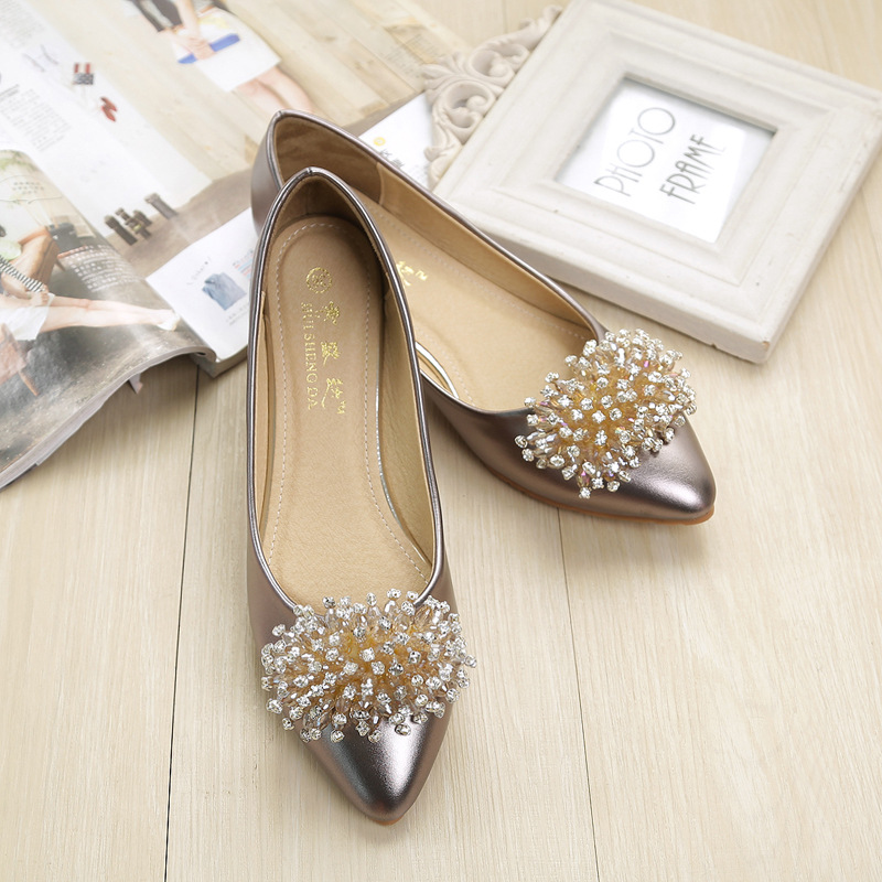 Single shoes female flat bottom new golden rhinestone pointed shallow mouth large size women's shoes