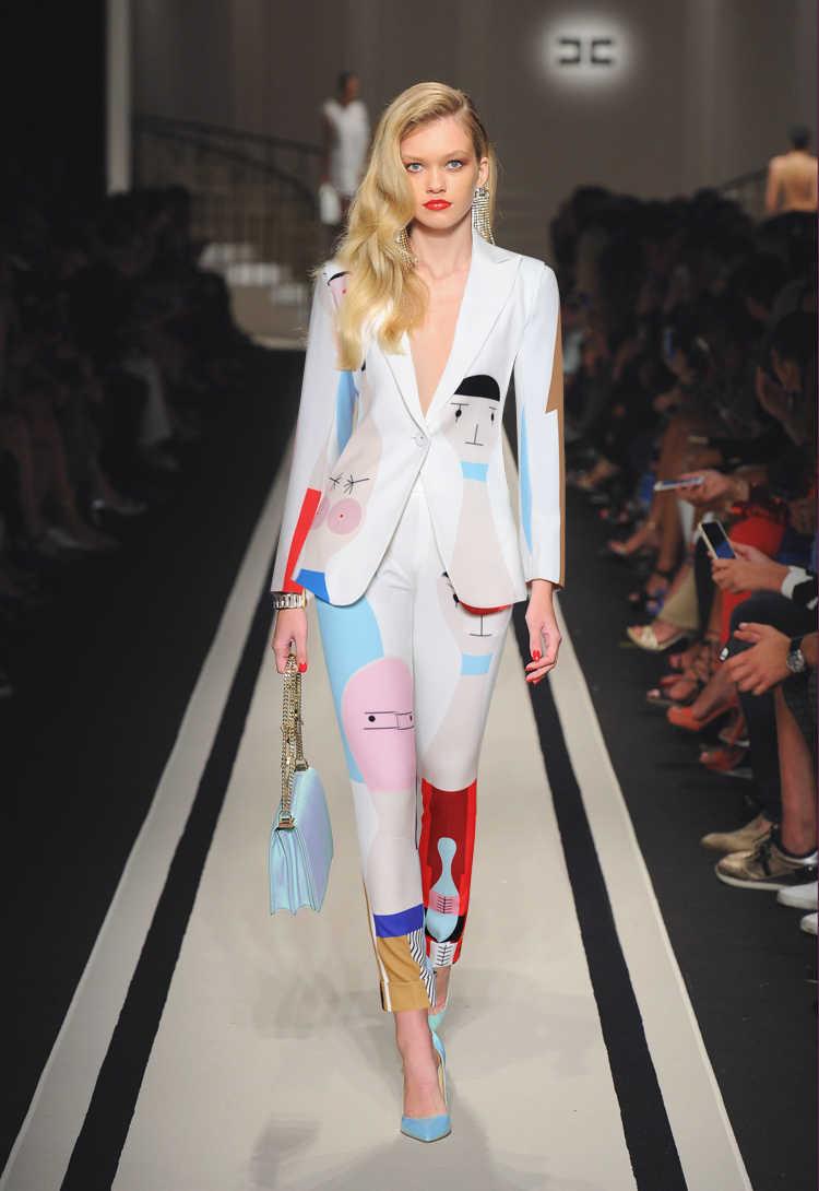 2018 Fashion Women s Trouser Suit V-Neck Long Sleeve Blazer And Printed  Full Length Pencil b55b0cc64801