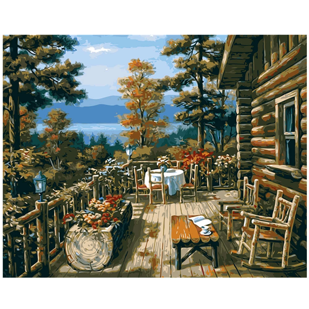 Log cabin in the woods painting - Diy Unique Gift Balcony Cabins Digital Oil Painting By Numbers Drawing By Numbers Europe Wall Art