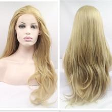 Precio barato 1 unids a prueba de calor sintética ondulada larga rubia peluca delantera del cordón para mujer de pelo negro Pelucas Cosplay