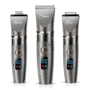 Профессиональная машинка для стрижки волос HATTEKER 3 в 1, водонепроницаемый триммер для волос, набор для груминга, керамическое лезвие, светоди...