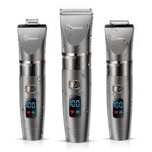 HATTEKER 3in1 profesyonel saç kesme makinesi su geçirmez saç giyotin erkekler tımar kiti seramik bıçak erkek LED ekran saç kesimi makinesi