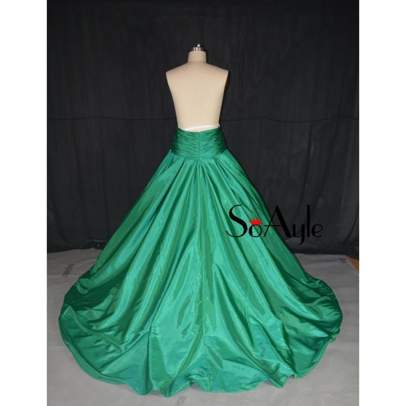 SoAyle Ball Gown 2018 Prom Dresses Dark Green Taffeta Evening Gowns  Graduate Vestidos De Festa Formal Dress Women s Large Skirt c237ae02c37b