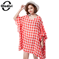 Oladivi Plus Size Women 2017 Summer Women Dresses Fashion Plaid Ruffle Batwing Sleeve Shirt Ladies Casual
