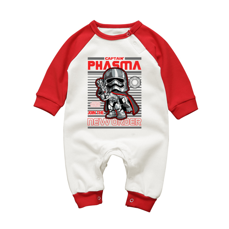 Baby Boy Long-Sleeved Rompers Star Wars Phasama Cartoon Newborn Baby Clothing Set Pajamas Toddler Cotton Crewneck Jumpsuits strip baby rompers long sleeve baby boy clothing jumpsuits children autumn clothing set newborn baby clothes cotton baby rompers