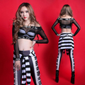 Mujeres negro noche sexy ropa de la etapa de DJ femenina DS bar trajes de danza jazz hip hop club establece cantante trajes de bailarina trajes