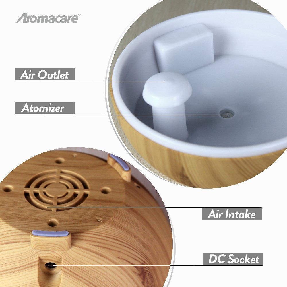 Aromacare 600mL UFO Ultralyd Aroma Diffuser Træ Korn Aromaterapi - Husholdningsapparater - Foto 2