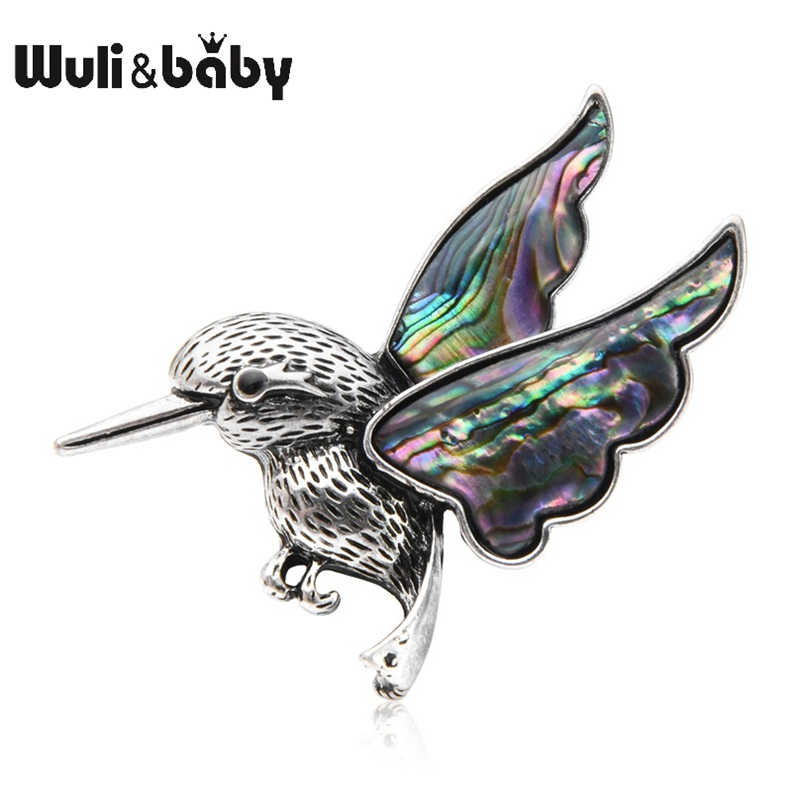 Wuli Bayi Humming Bird Wanita Bros Pin Alami Abalone Shell Hadiah Fashion Perhiasan Bouquet Hadiah