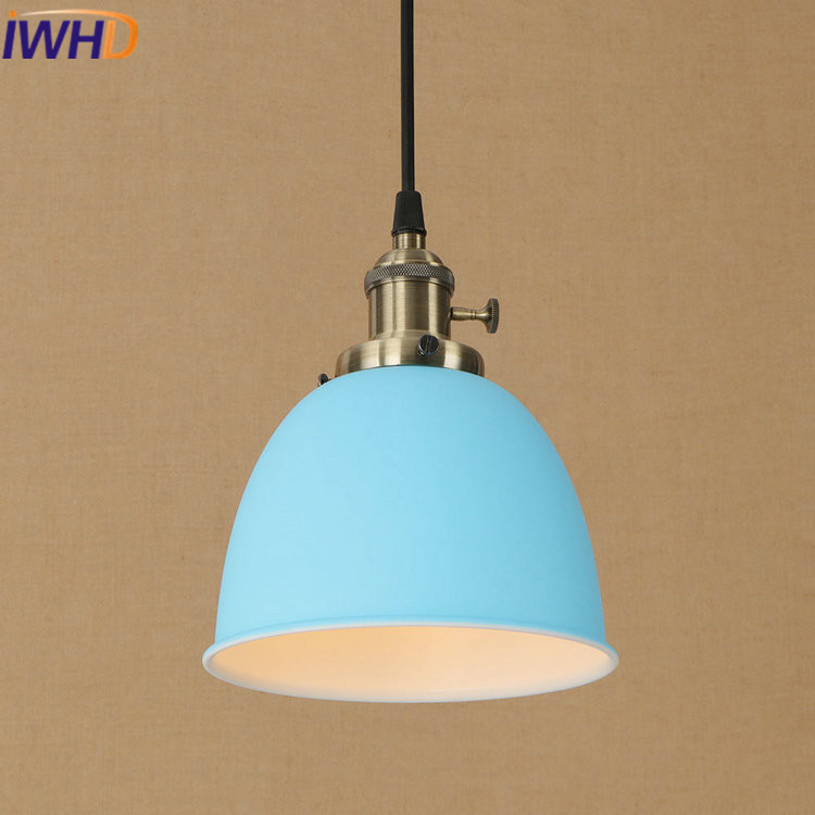 IWHD Iron Lamparas Loft Industrial Vintage Pendant Lights LED Color Bedroom Pendant Lamps Home Lighting Fixtures Design Lamp iwhd iron retro lamp pendant lights loft style creative industrial lighting fixtures led hanging lights fixtures lamparas lustre