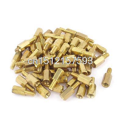 60 Pcs 3mm Male Thread Dia M/F Brass Hex Stand-Off PCB Spacer Pillar Screw 50 pcs m3 7mm 6mm male female thread nylon pcb hex stand off screw spacer