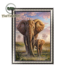 FineTime Elephant Family 5D DIY Diamond Painting Partial Round Drill Diamond Embroidery Animal Cross Stitch finetime cute cats family 5d diy diamond painting partial round drill diamond embroidery animal cross stitch