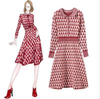 European and American women's wear in 2018 The new spring Long sleeve lapel Hearts printed Knitted dress