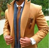 2018 עיצובים צפצף המעיל האחרונים טאן בראון טוויד חליפת גברים Jacket Slim Fit טוקסידו חתן חליפות חתונה אישית סתיו בלייזר Masculino