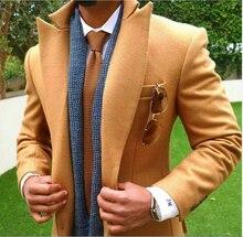 2018 Latest Pant Brasão Designs Tan Brown Homens Terno de Tweed Slim Fit Jaqueta Ternos Smoking de Casamento Do Noivo Personalizado Blazer Outono Masculino