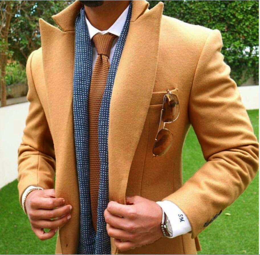 2018 Latest Coat Pant Designs Tan Brown Tweed Men Suit Slim Fit Jacket Groom Wedding Sui ...