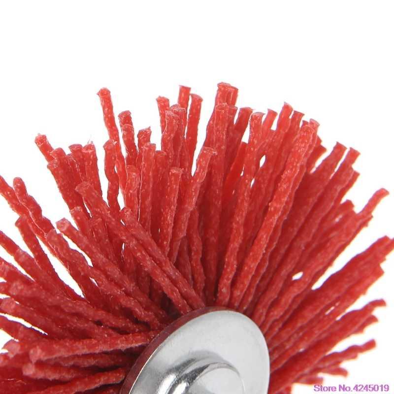 Новая абразивная стальная проволочная щетка для снятия заусенцев, красная Нейлоновая Манжета колеса с хвостовиком