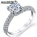 1ct moissanites laboratorio crecido anillo de diamante 14 k oro blanco anillo de metal con tapa micro pave engagement wedding rings para las mujeres joyería fina femenina