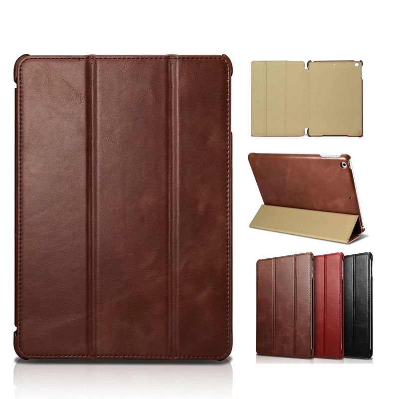 Icarer For iPad 9.7 2017 Genuine Real Leather Case Cover Protective Stand For Apple iPad 2017 9.7'' Tablet 9.7'' Business Funda icarer retro case for ipad mini 4 7 9 new fashion real leather flip tablet case cover for apple ipad mini4 7 9 protective stand