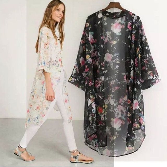 2c693ef0041517 Vintage Women Loose Floral Kimono Cardigan Lace Chiffon Blouse Tops Jacket  Coat Size S-xxl