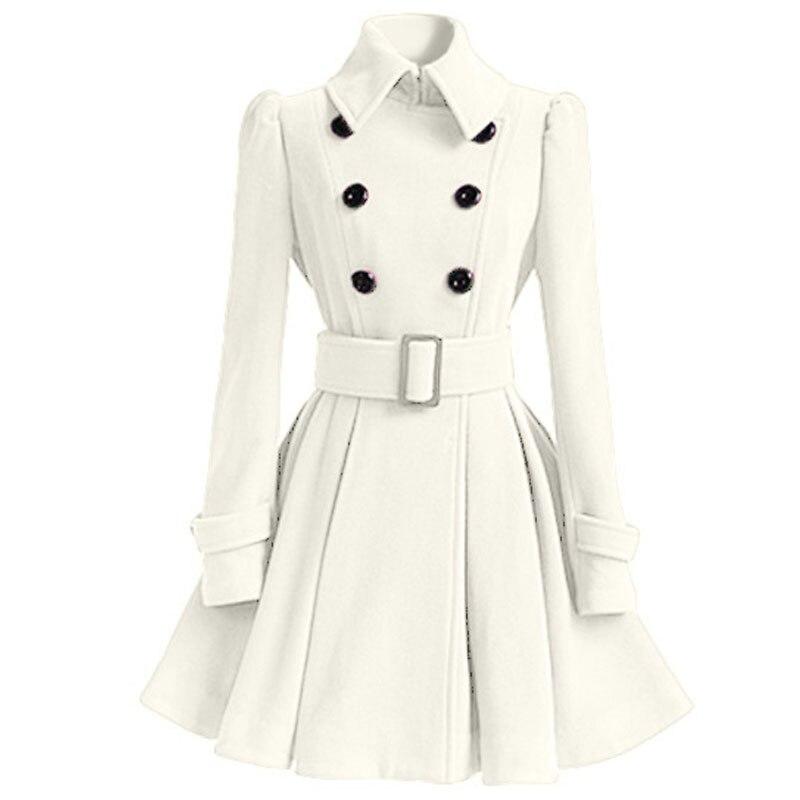 Осенне-зимнее женское пальто, модный тонкий винтажный двубортный пиджак, женский элегантный длинный теплый красный блейзер для женщин - Цвет: Белый