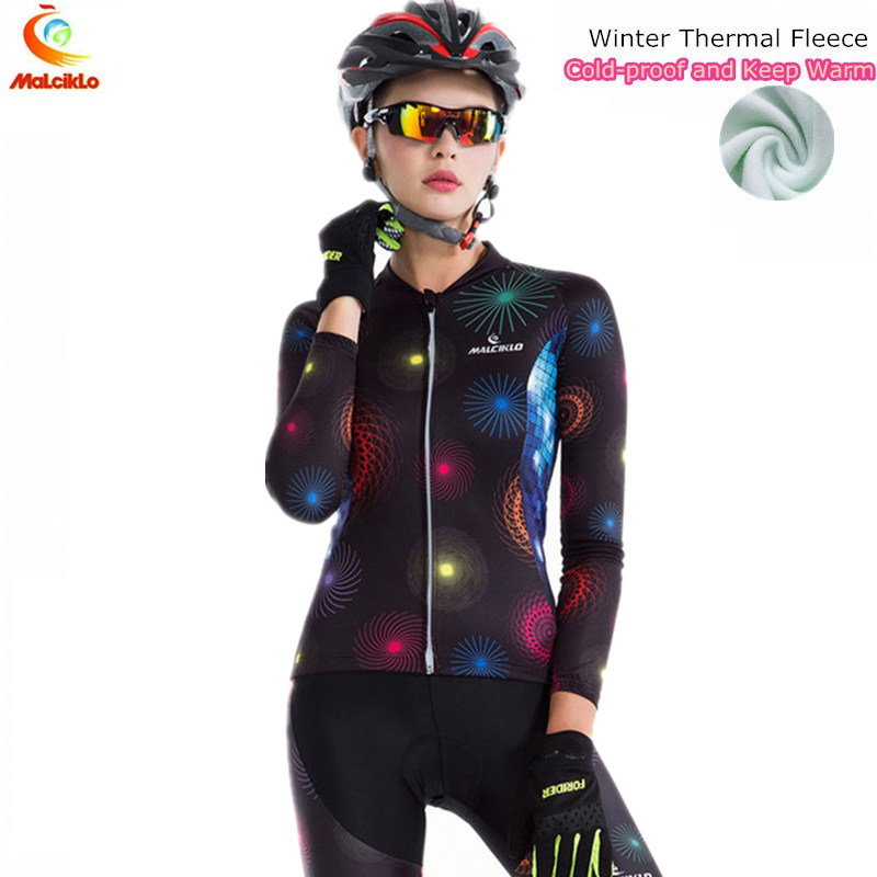 Malciklo 2018 Dream Fireworks Winter Cycling Jersey Women Pro Team Thermal Cycling Clothing Ropa Ciclismo Mujer Bike Wear Suit