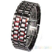 Новые Нержавеющаясталь часы-браслет Для мужчин Для женщин Лава Железный Самурай металл светодиодный Безликий Цифровые наручные часы relogio mascu