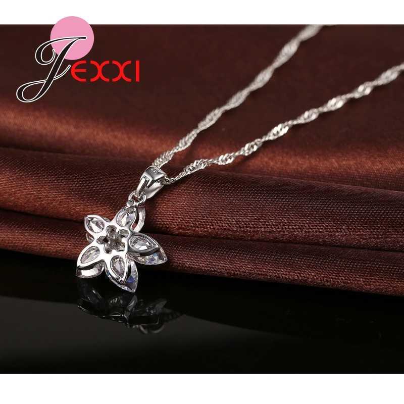 Klasik 925 ayar gümüş kristal çiçek kolye kolye + küpe seti gelin 925 ayar gümüş hediye takı seti