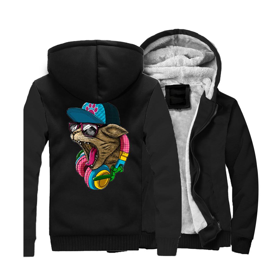 Animal Crazy D J Cat Printed Men 39 s Hoodies Sweatshirts 2019 Winter Warm Men Jackets Thick Long Sleeve Hooded Ourwear Tracksuit in Hoodies amp Sweatshirts from Men 39 s Clothing
