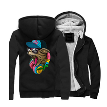 Animal Crazy D J Cat Printed Mens Hoodies Sweatshirts 2019 Winter Warm Men Jackets Thick Long Sleeve Hooded Ourwear Tracksuit