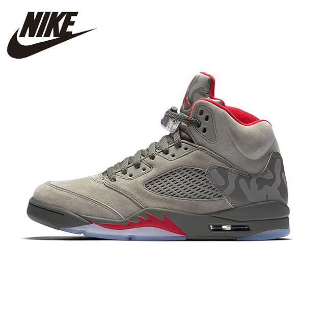 NIKE Air Jordan 5 Retro AJ5 Camouflage Mens Basketball Shoes Breathable Height  Increasing Suede Sneakers For